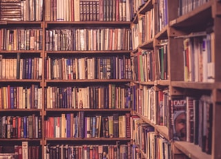 brown wooden bookcases filled with books