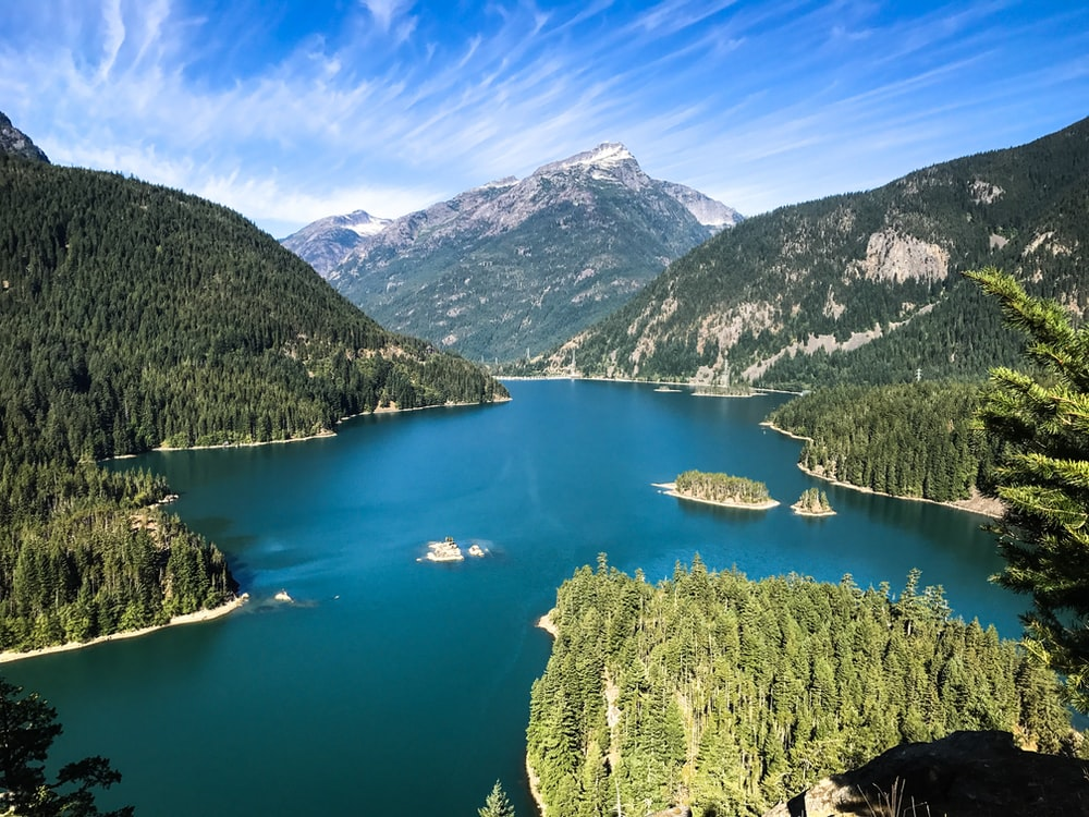 aerial photography of mountain and river