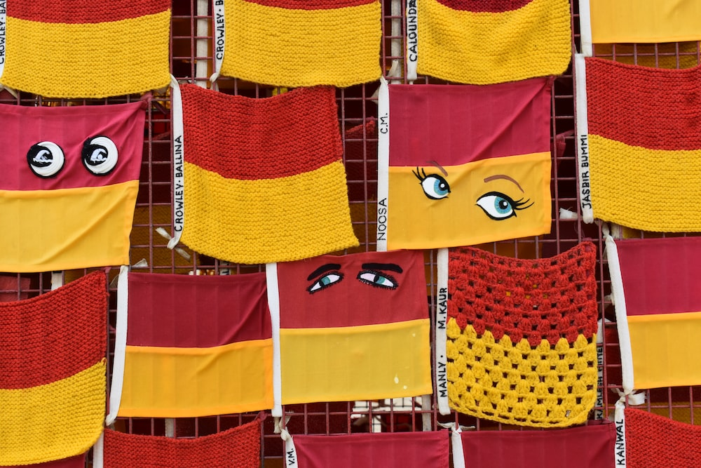 hanging red-and-yellow textile