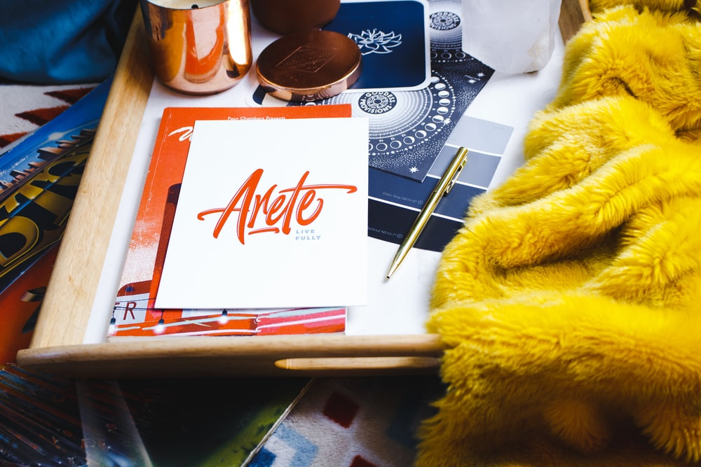 Arete book on table