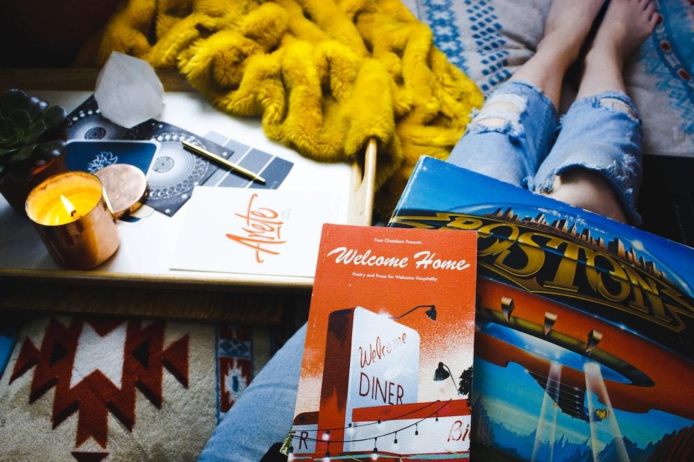 photo of Boston book on person lap
