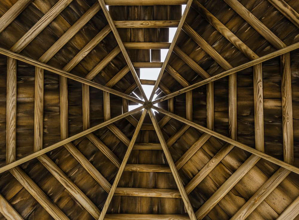 low angle photography of wooden roof