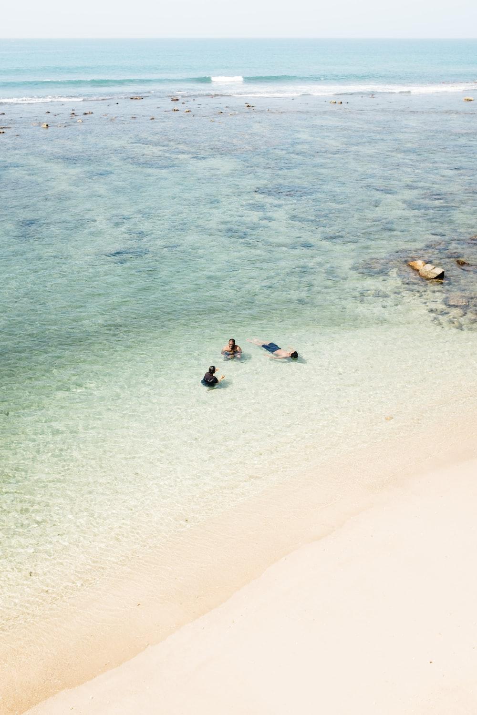 people swimming at beach near seashore