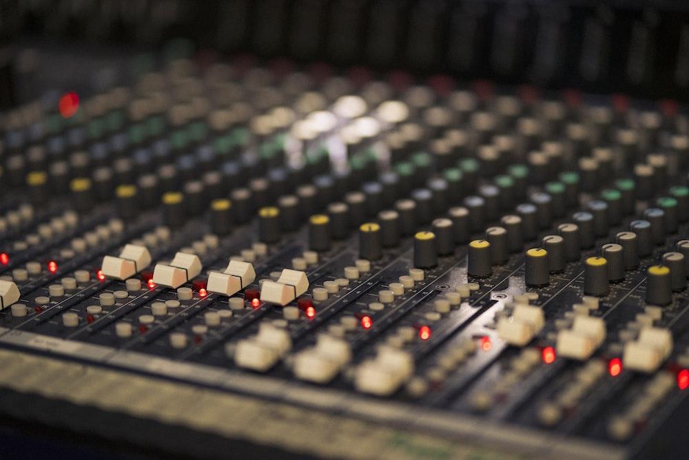 gray and white audio mixer