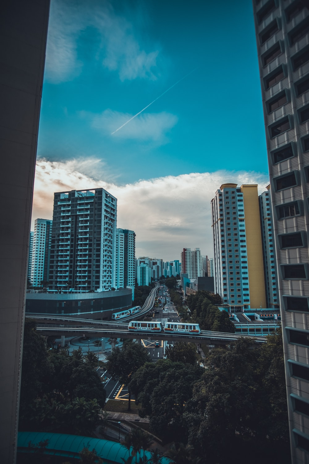 high angle photography of buildings