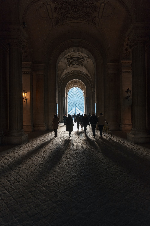 group of people walking outside