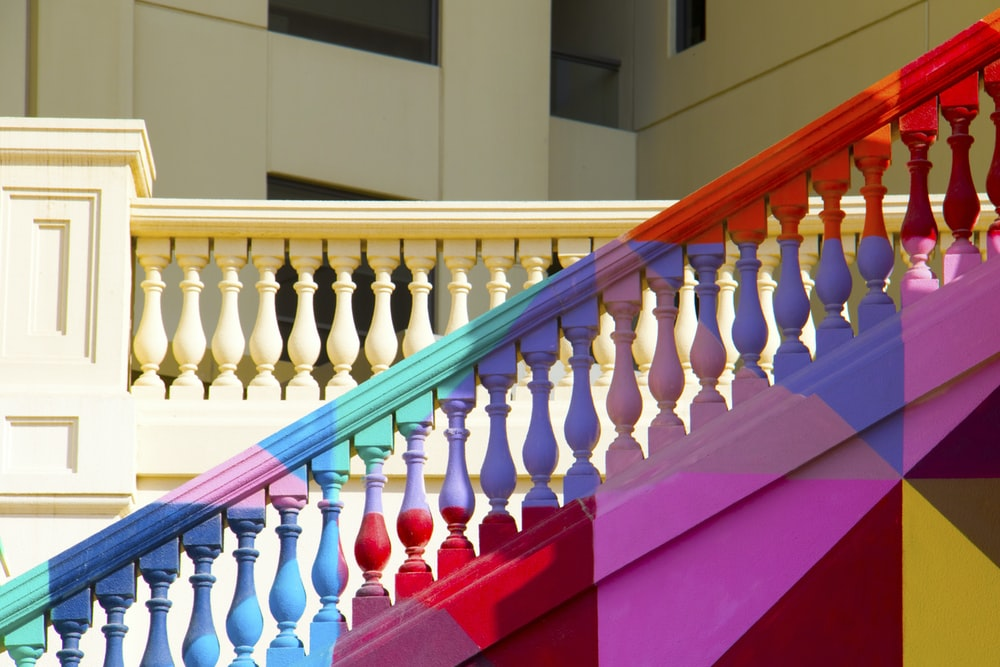 multicolored stairs handrail