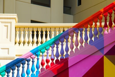 multicolored stairs handrail colorful zoom background