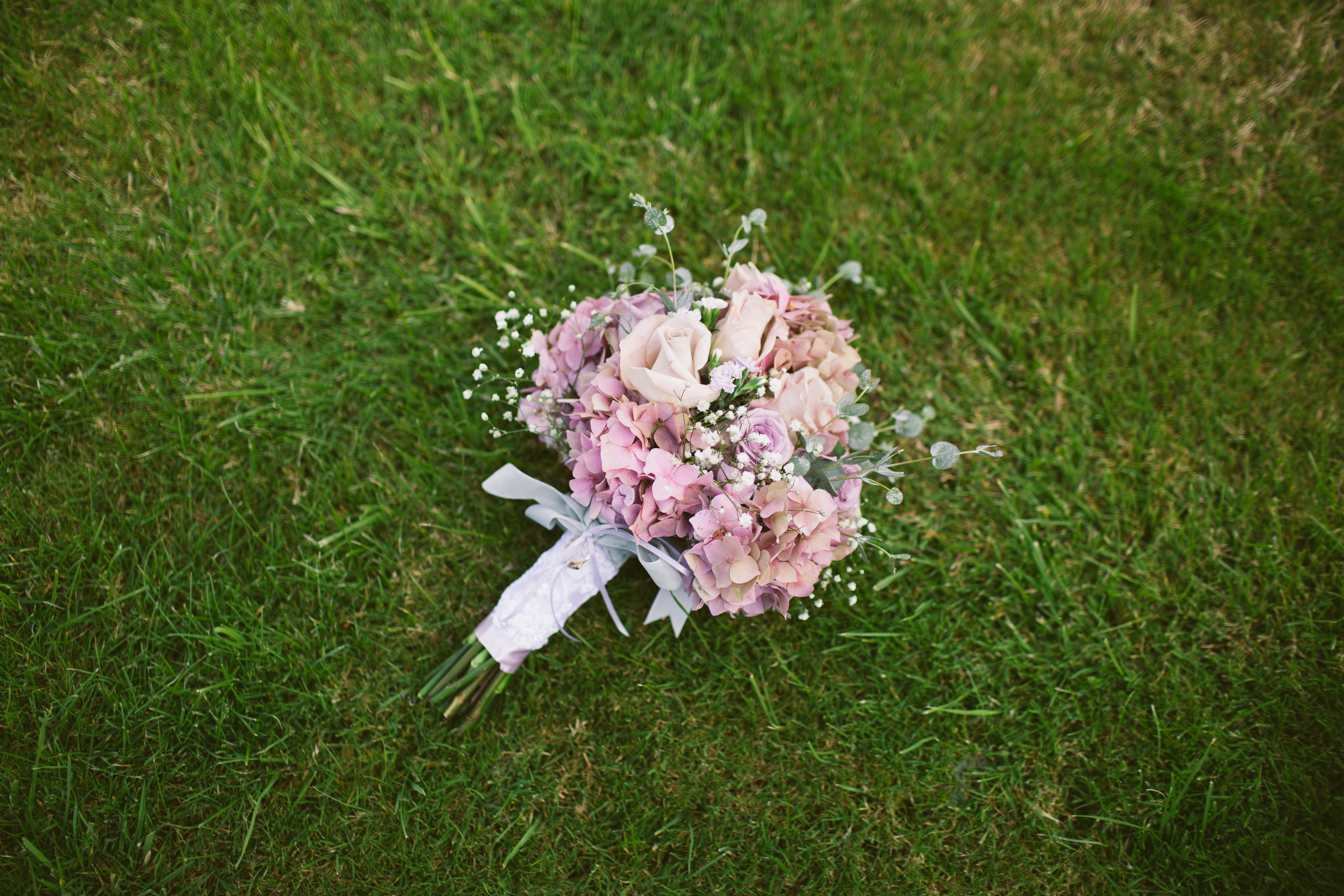 flower bouquet on grass