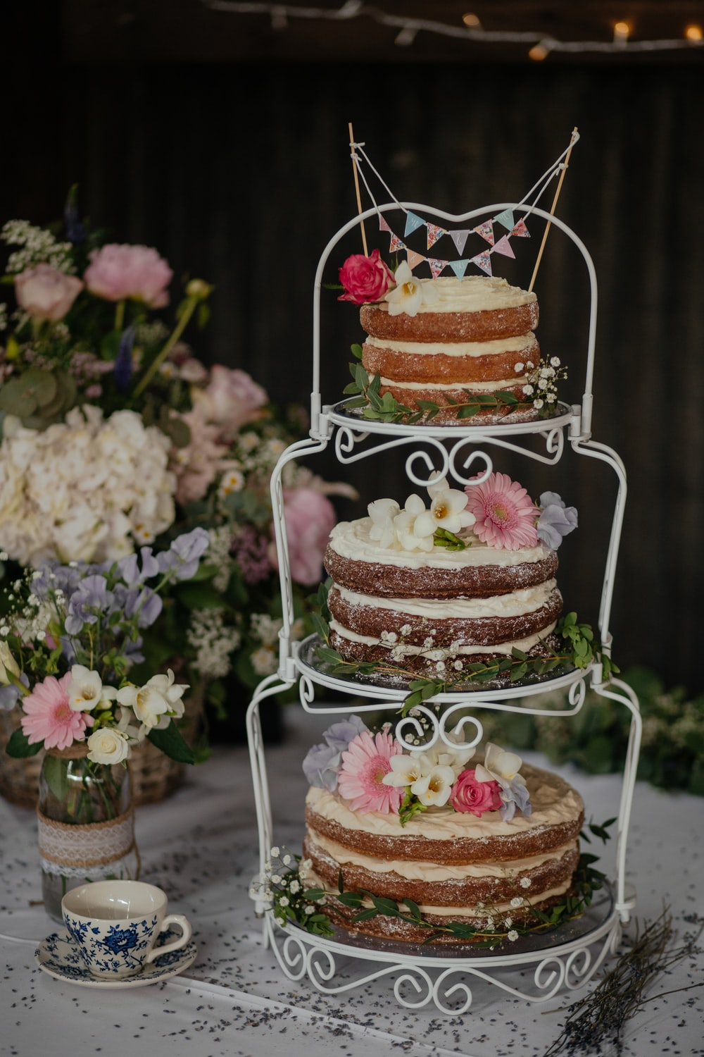 Three Cakes On White Wire Cake Rack