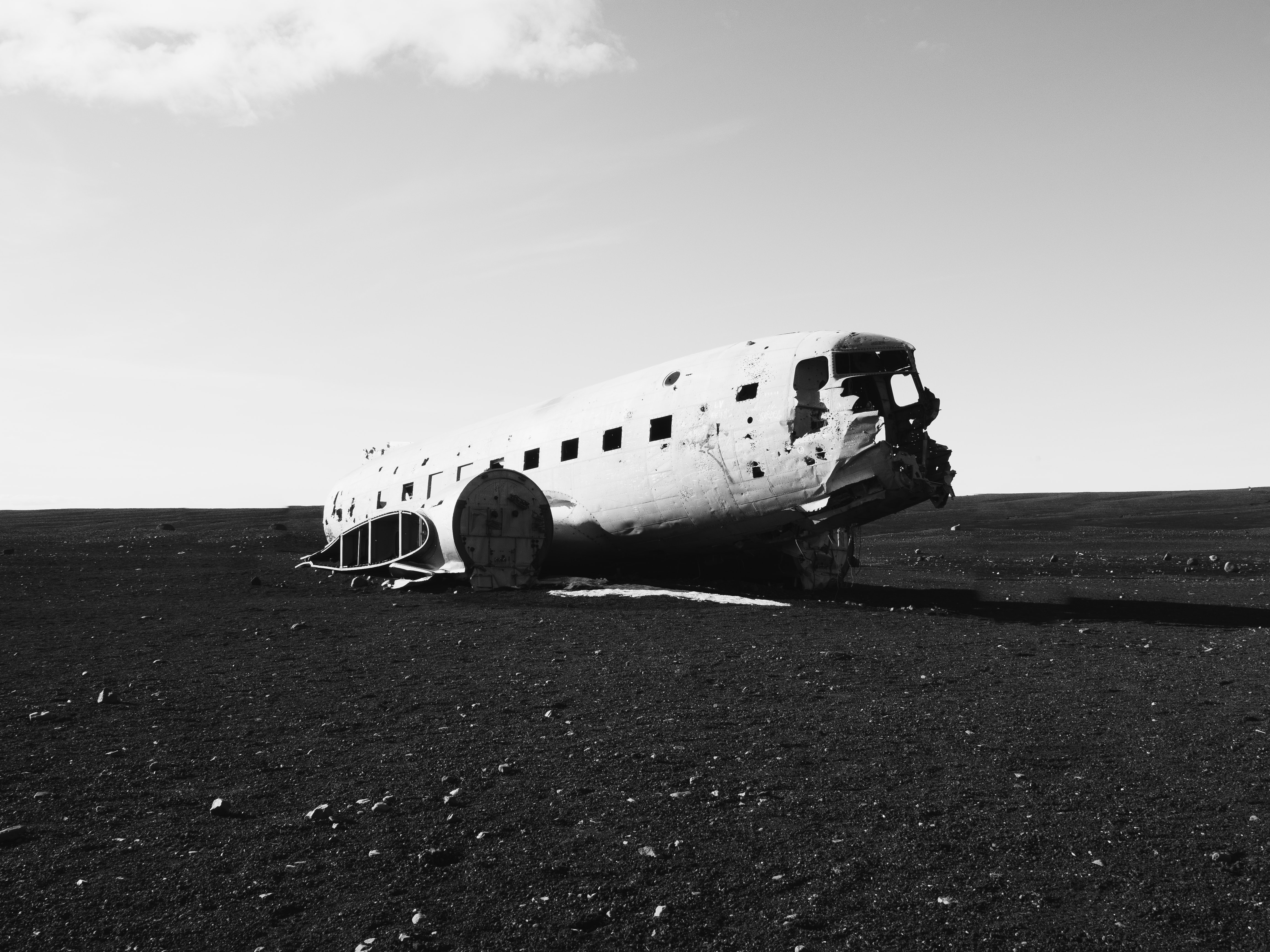 grayscale photograph of abandoned airbus