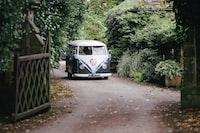 photo of white and black Volkswagen hippie van near green leafed plant
