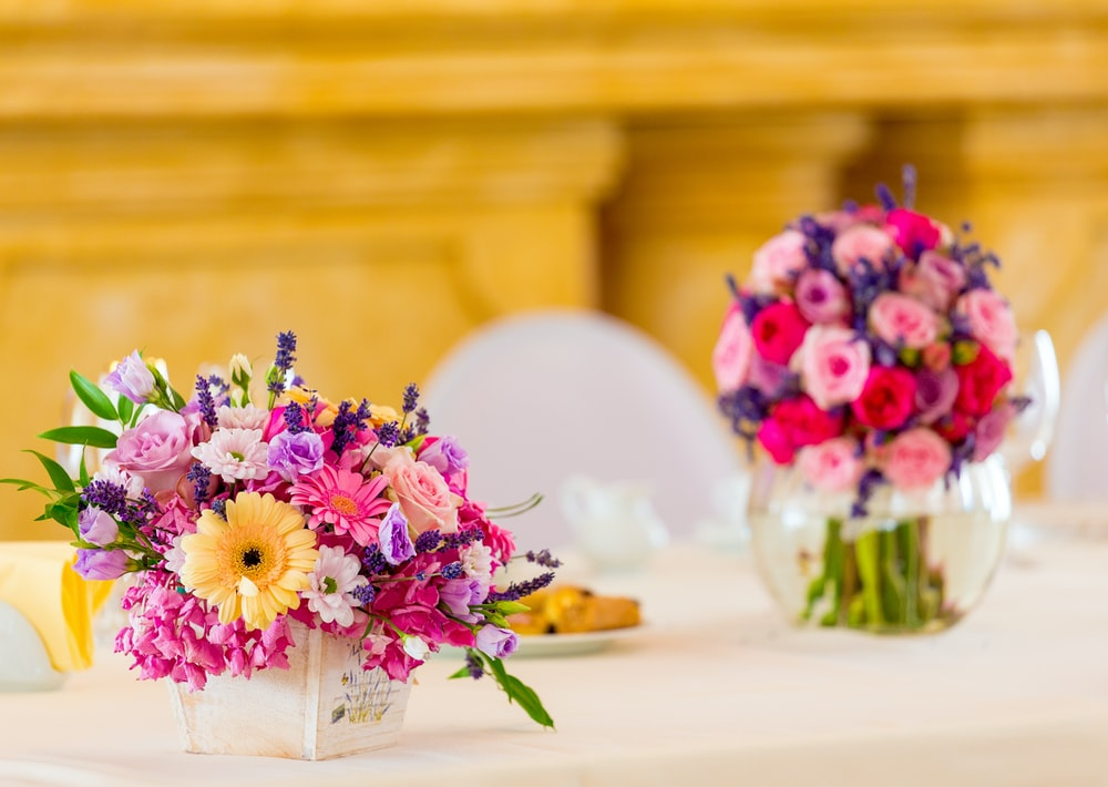 selective focus photography of assorted-color petaled flowers in vase