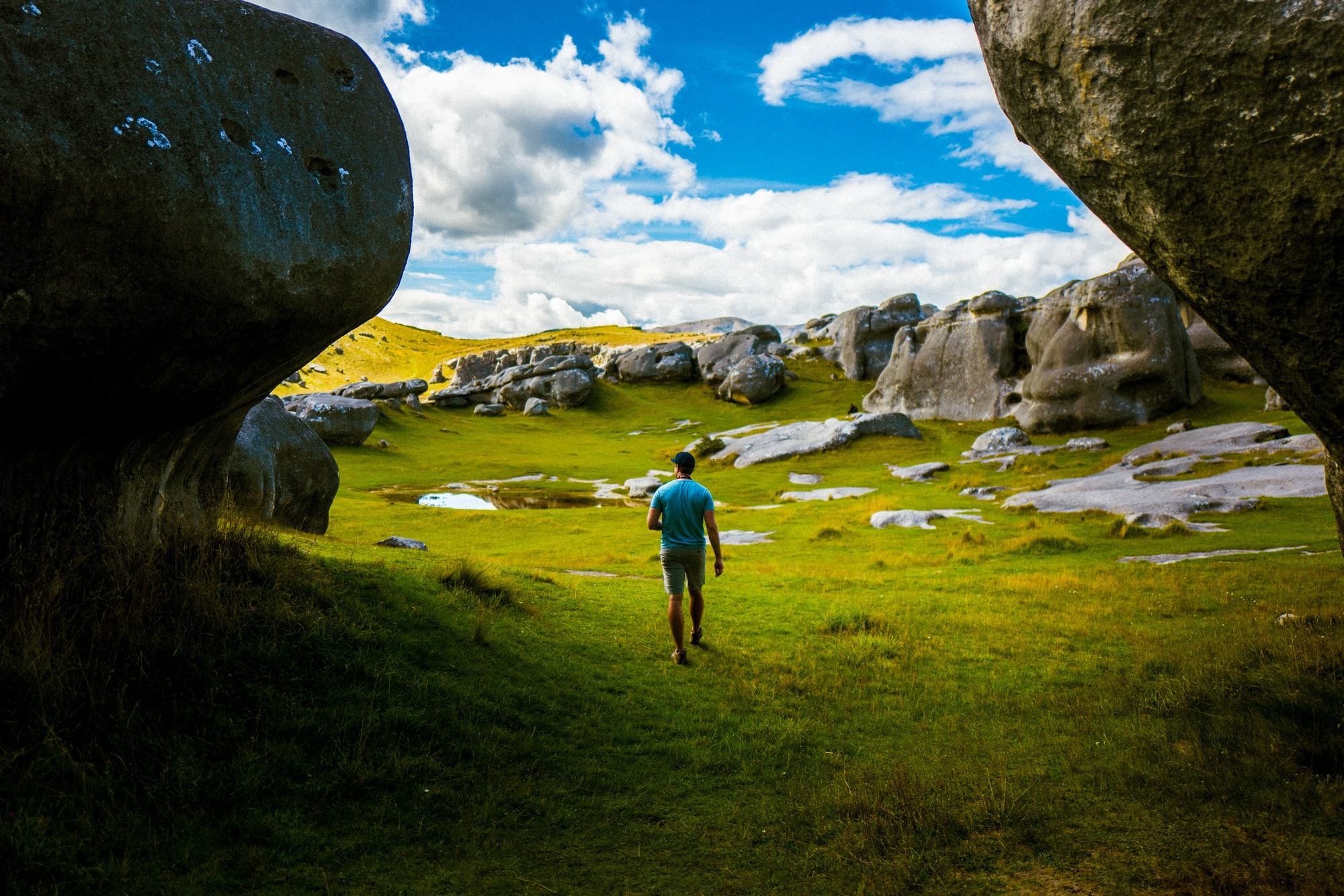 My friend, Tyler, wandering amongst the natural beauty of Castle Hill, New Zealand