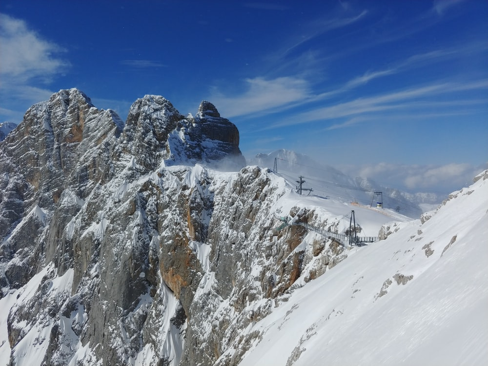 top view of snowy mountain