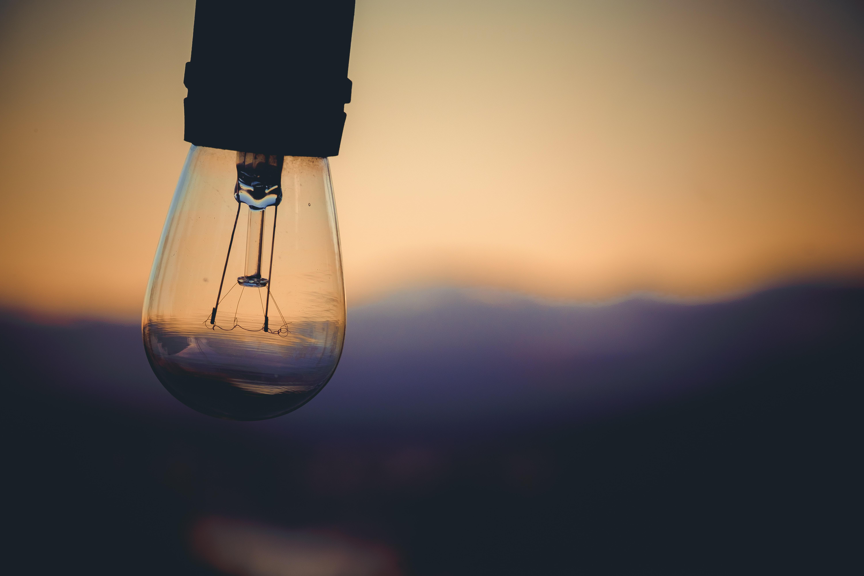 selective focus photography of Edison bulb