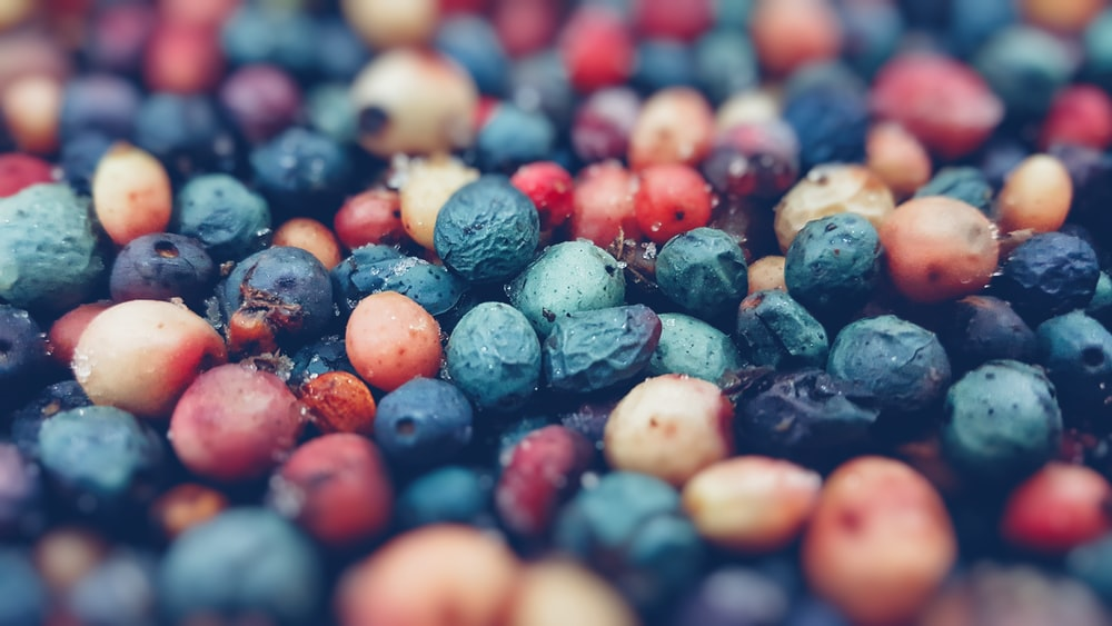 tilt shift lens photography of berries