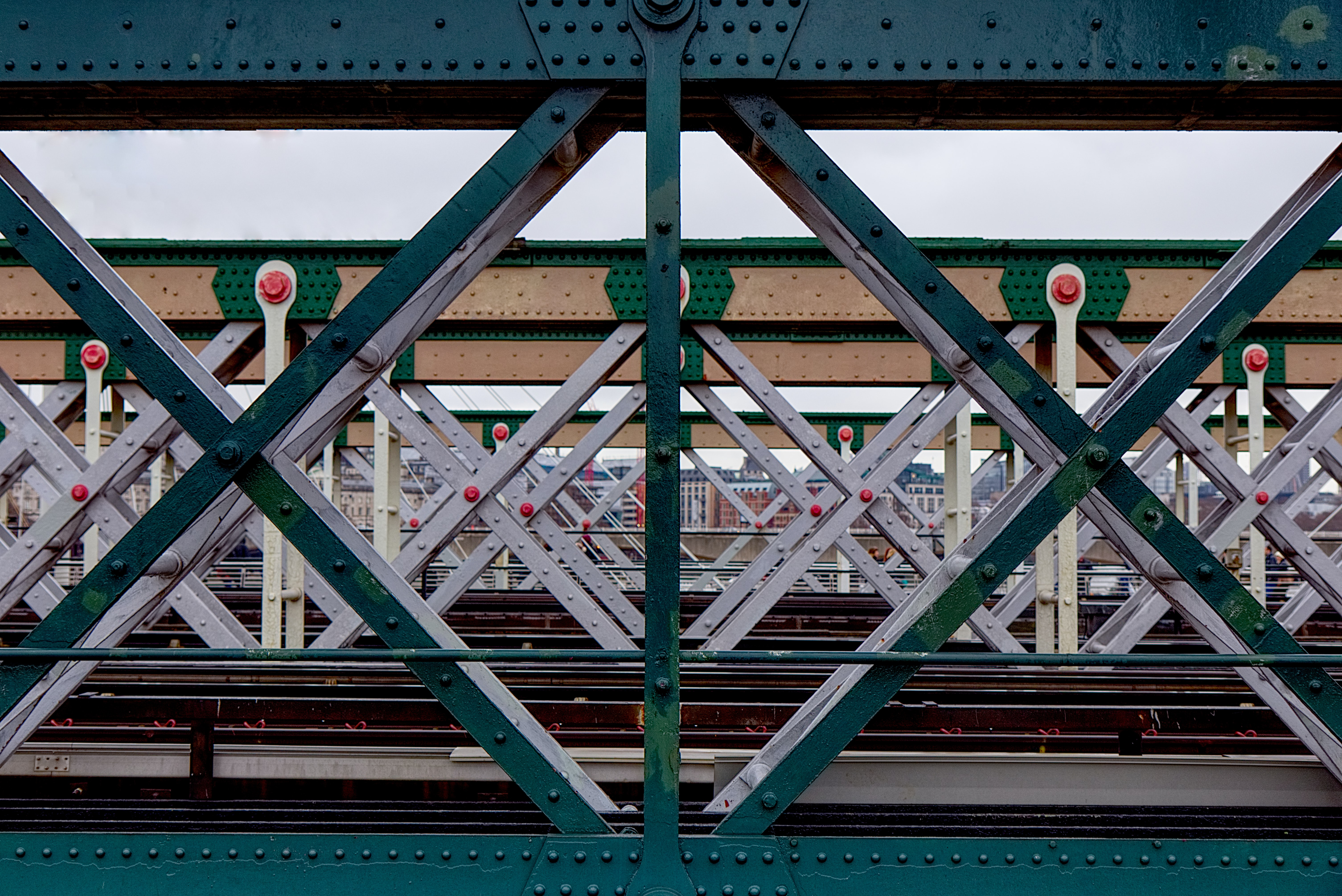 photography of green and white metal structures