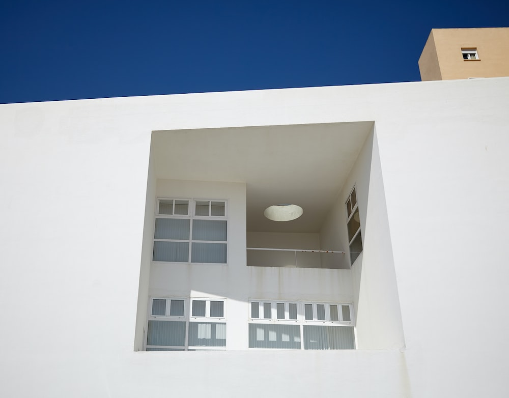 closeup view of white building