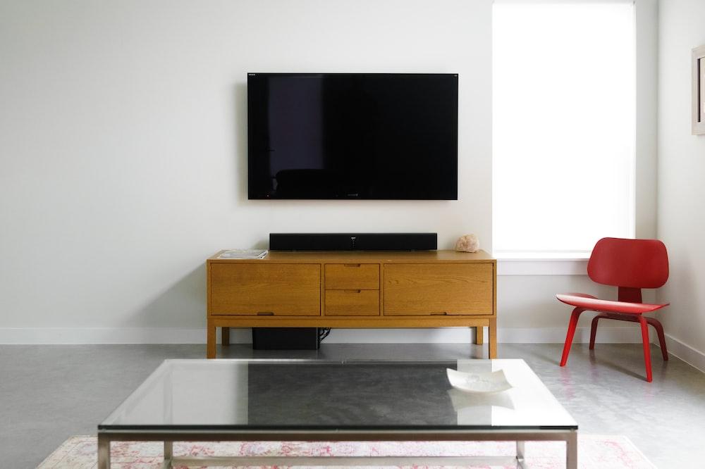 flat screen wall-mount TV inside room
