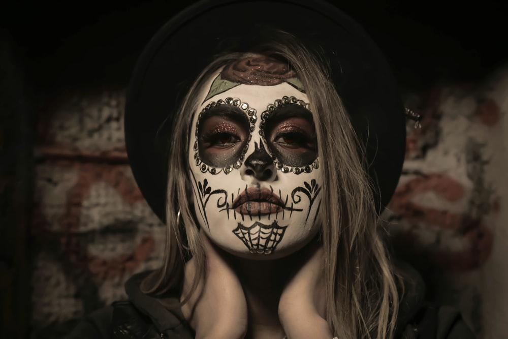 woman with sugar skull makeup