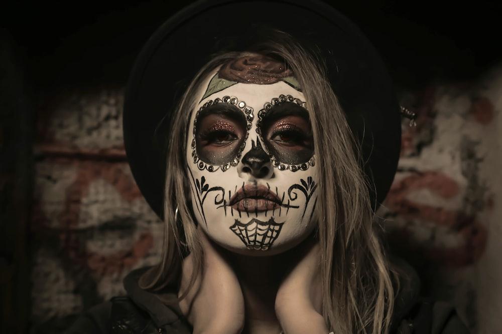 woman with sugar skull makeup