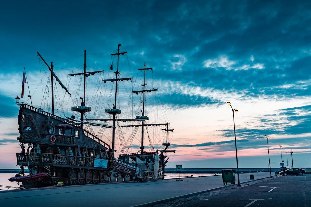 brown galleon ship on deck