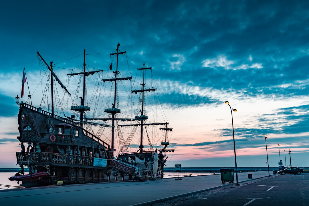 Pirates Ship in the Gdynia Harbour at sunrise.