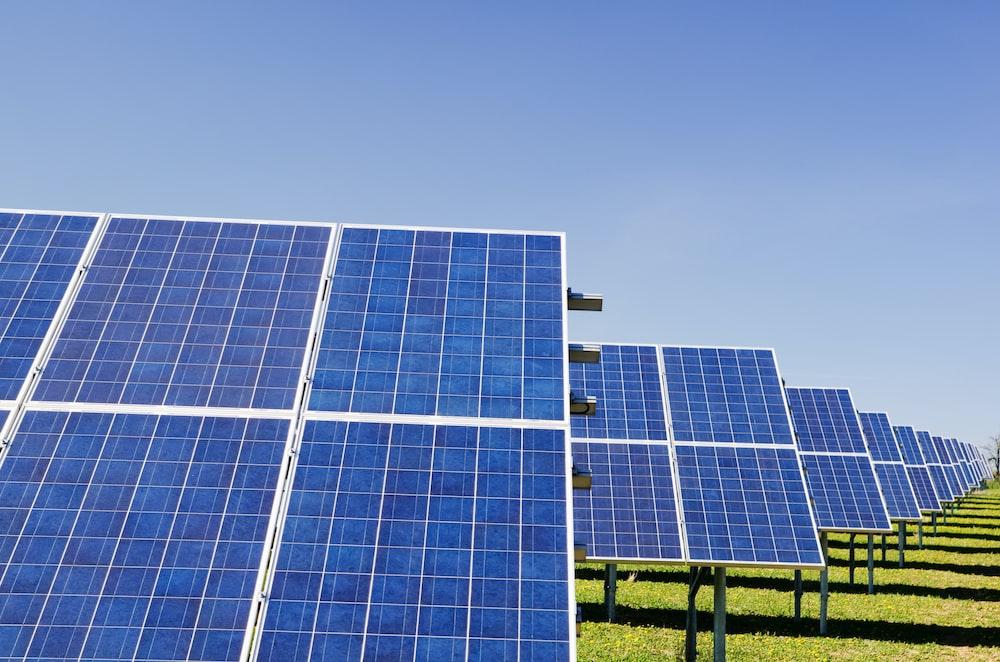 blue solar panel boards