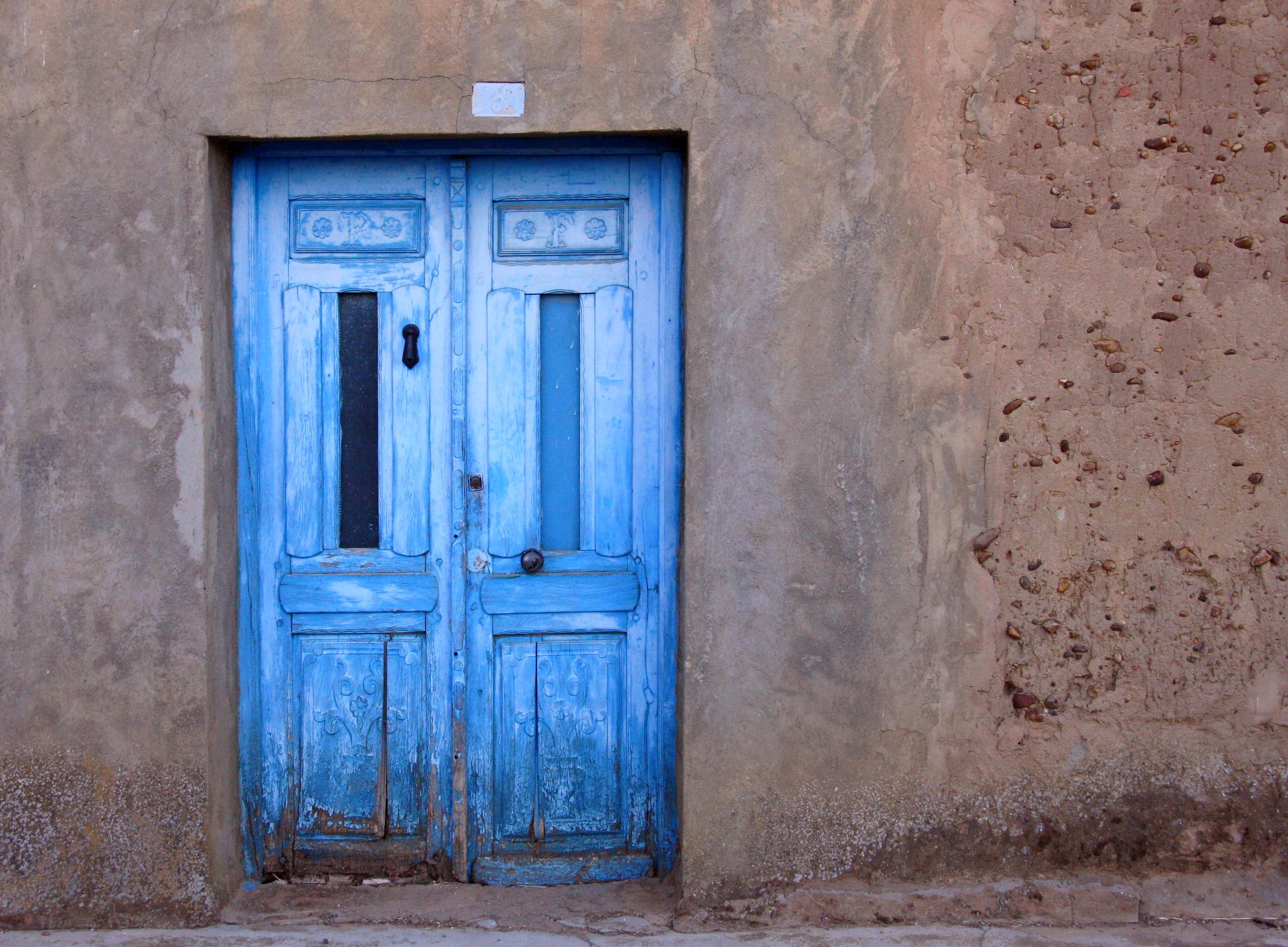 blue wooden door