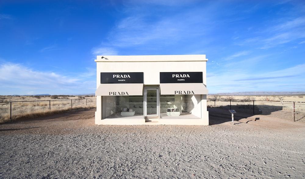 white Prada store facade