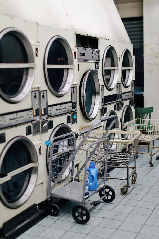 white front-load washing machine