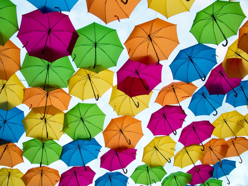 worm's-eye view photography of umbrellas