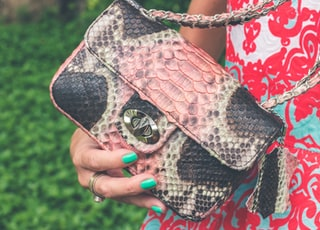 person holding gray and black snakeskin-printed bag