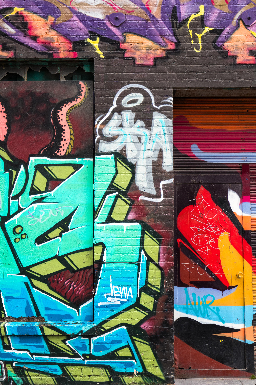 assorted-color vandalism artwork