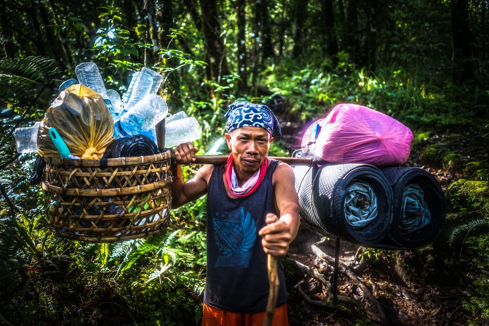 person carrying basket with plastic bottles surrounded by trees
