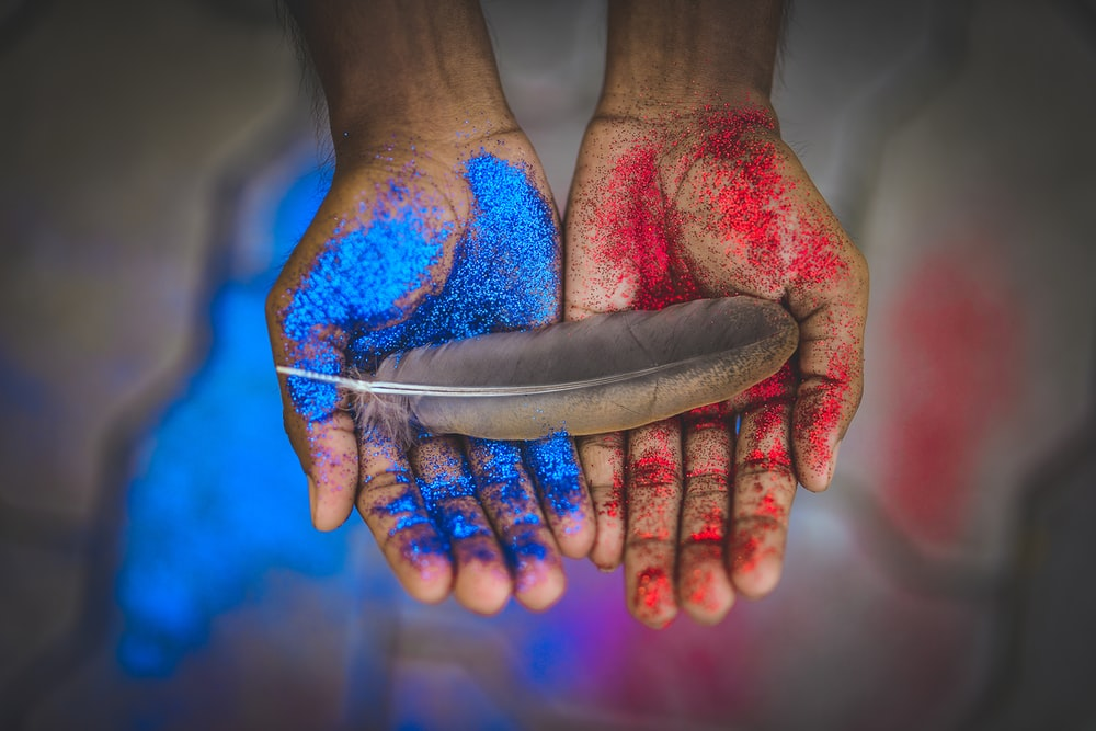 top view photography of brown feather on blue and red painted hands