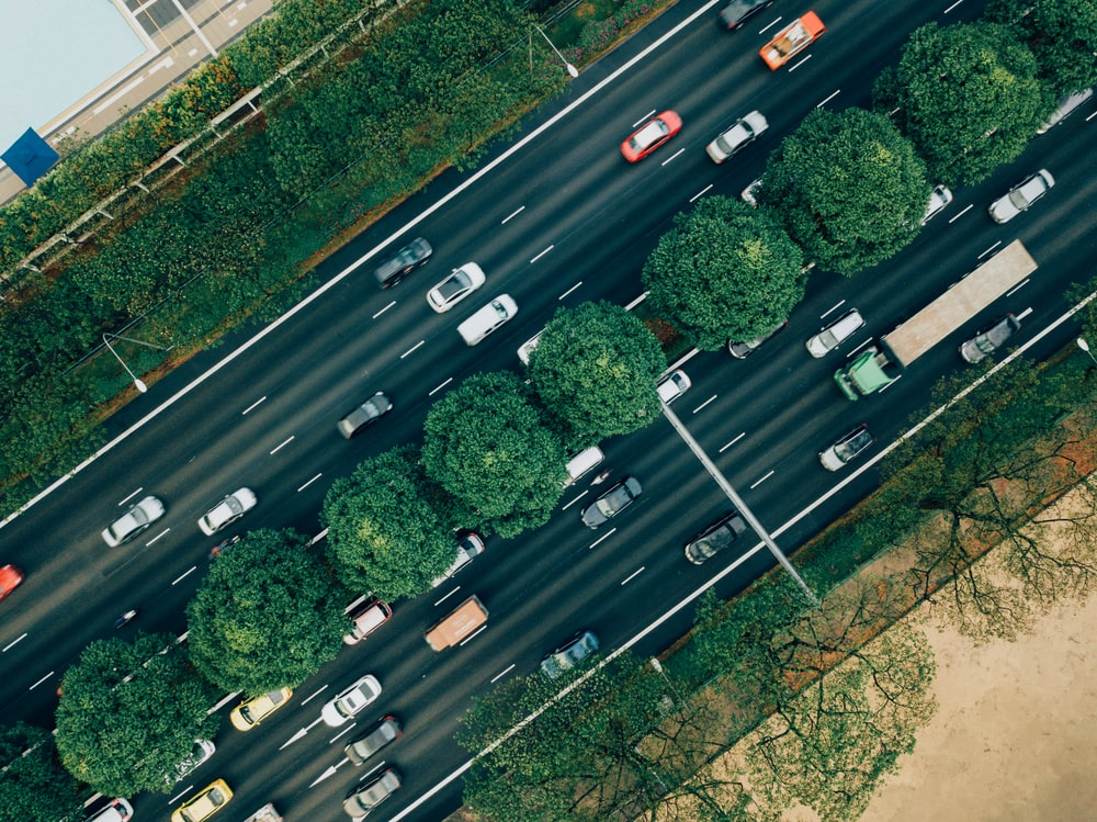 vehicles passing through road