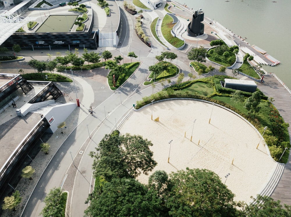aerial photography of park near road beside body of water at daytime \
