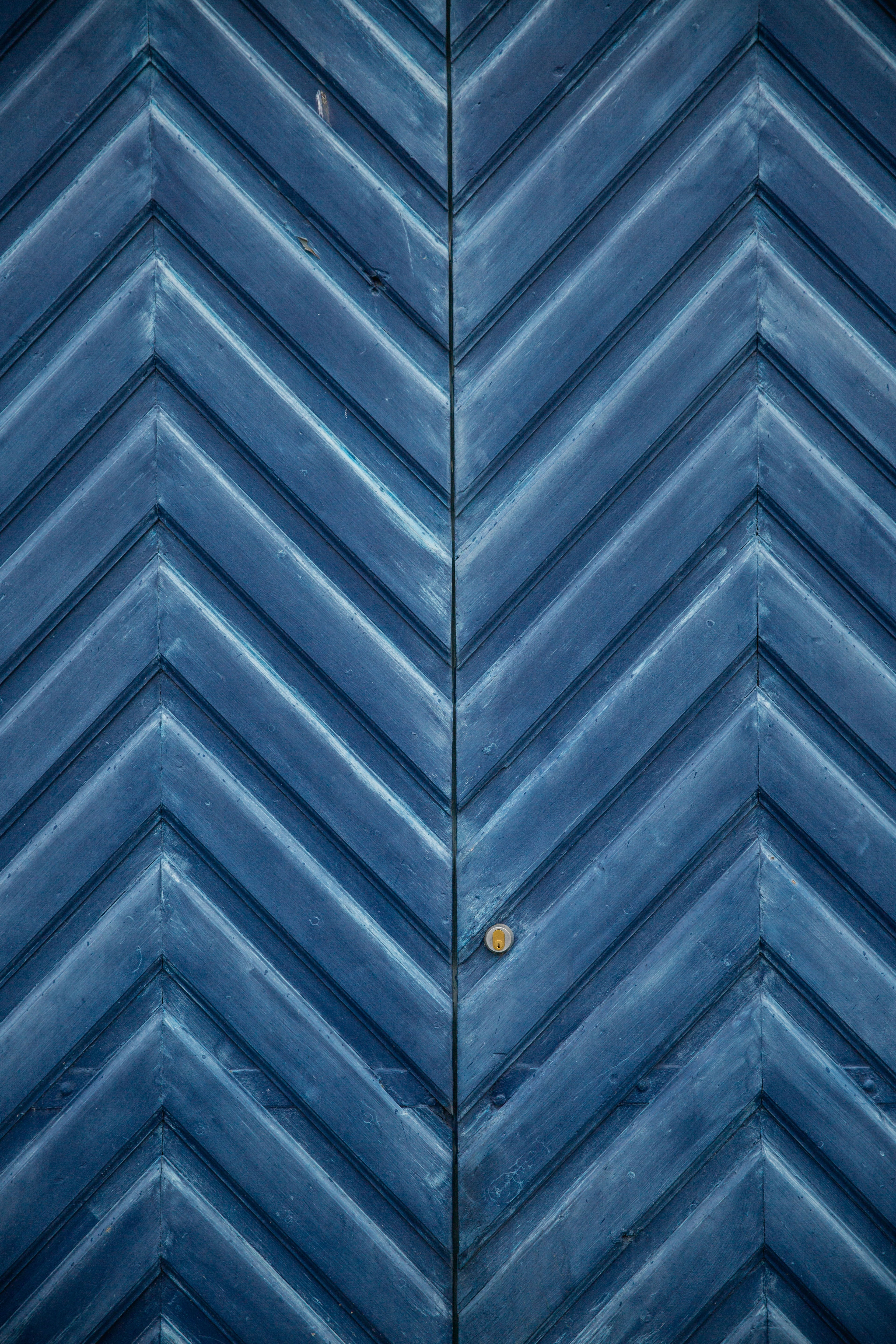 blue wooden chevron wall