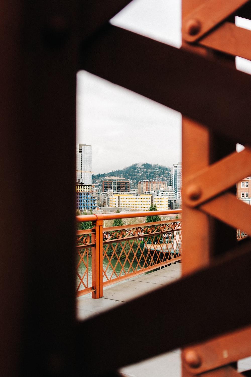 tilt-shift photography of handrails
