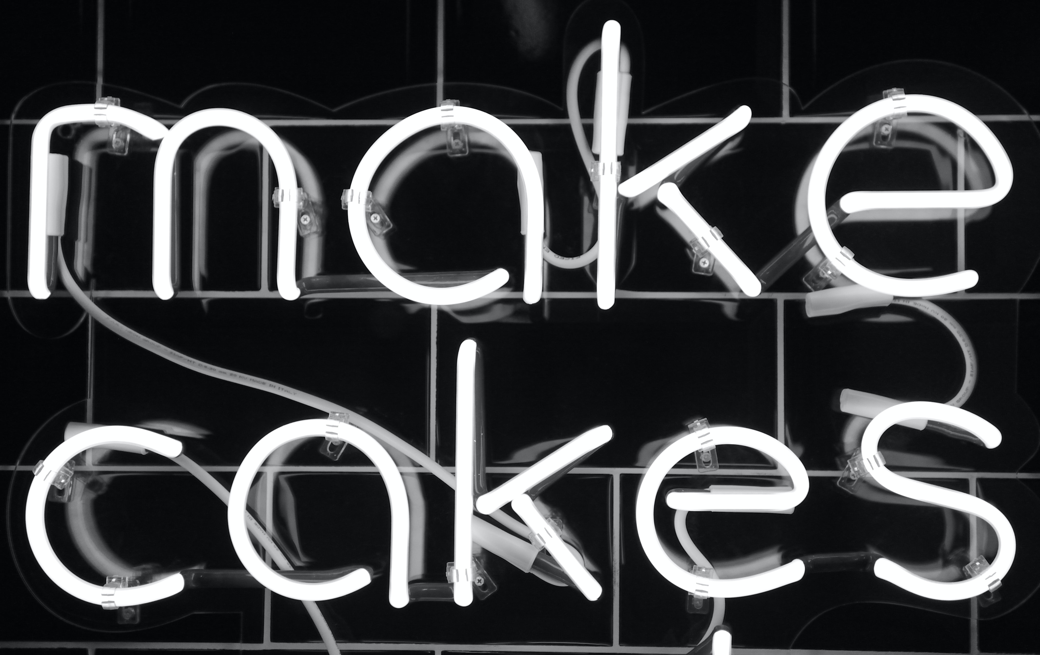 grayscale photography of make cakes neon signage