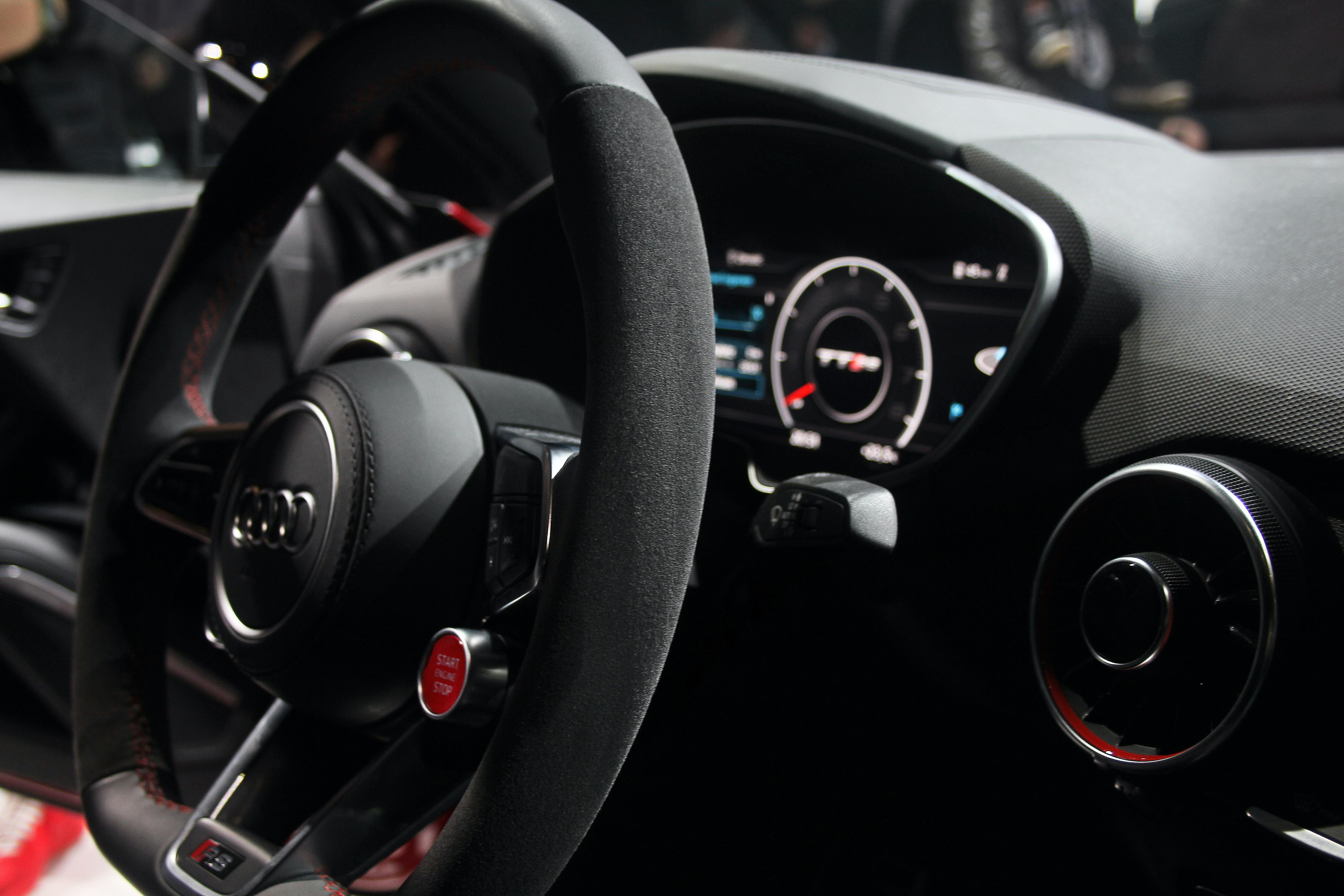 black Audi vehicle interior