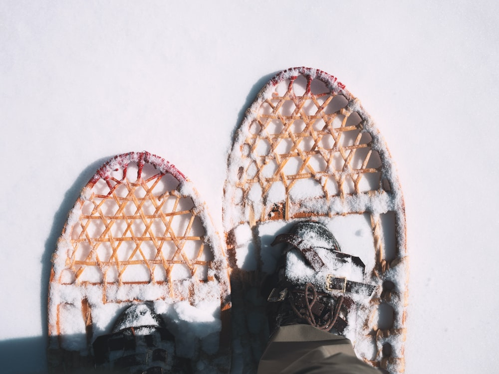 person wearing snow shoes