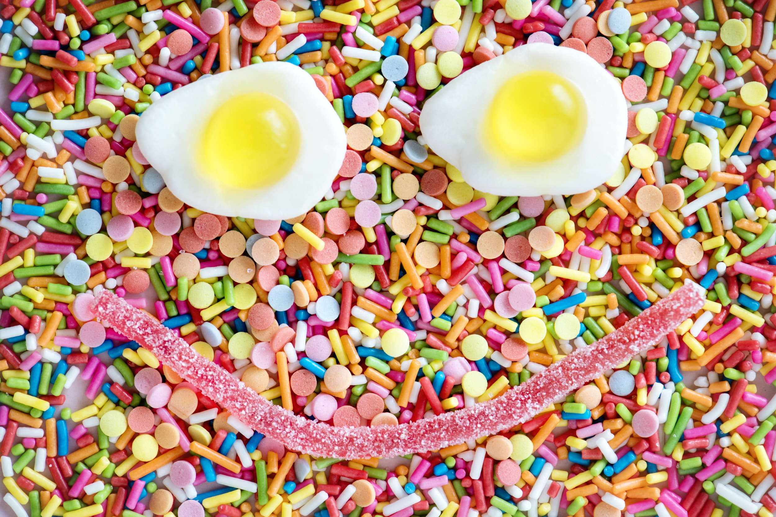 white boiled egg and assorted sprinkles