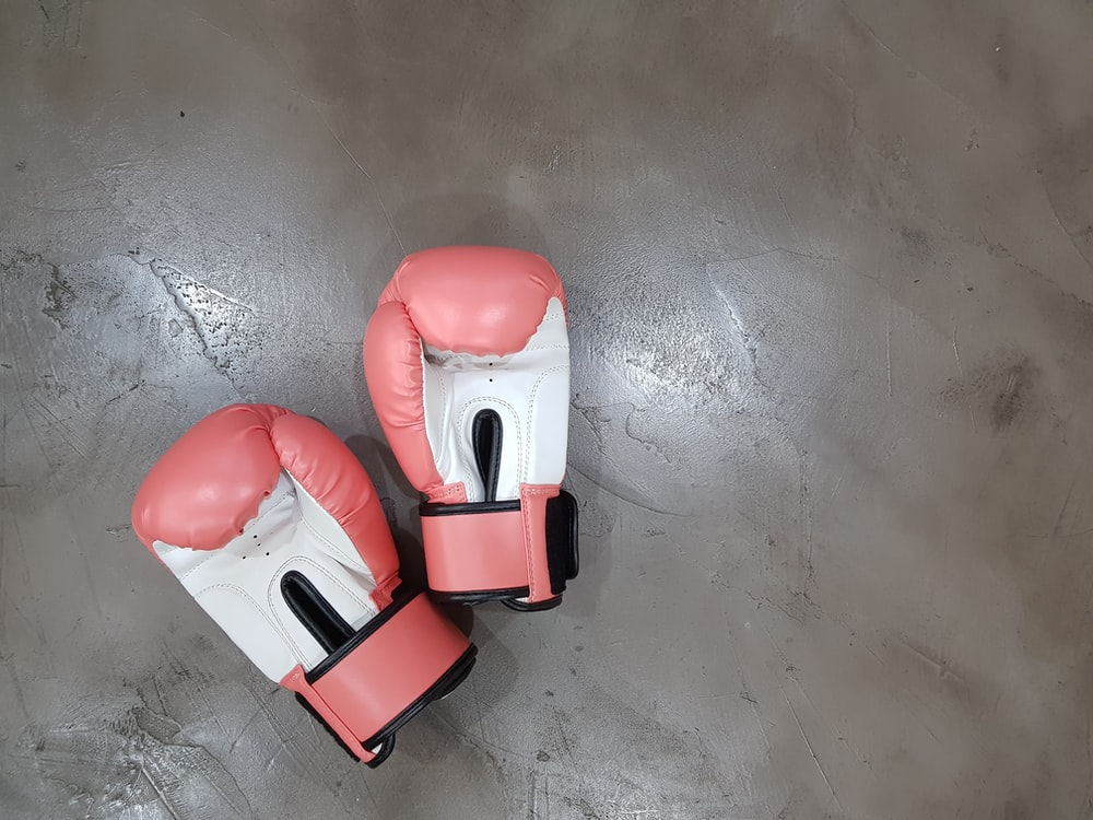 pair of pink boxing gloves