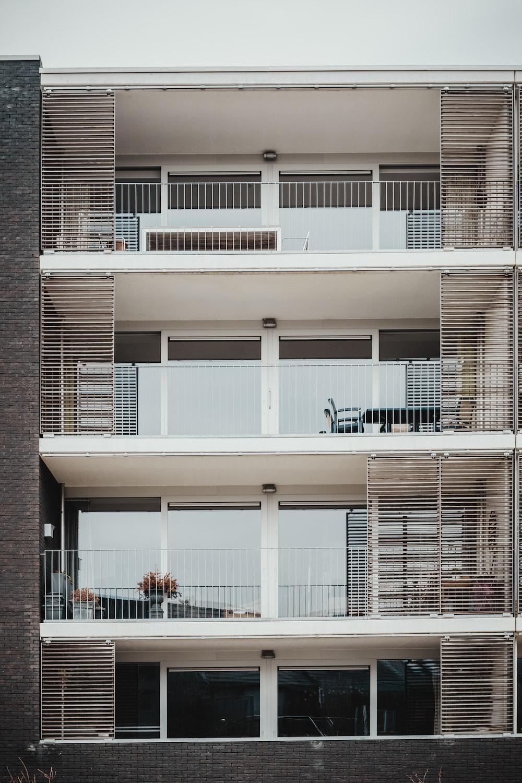 white concrete 4-story house