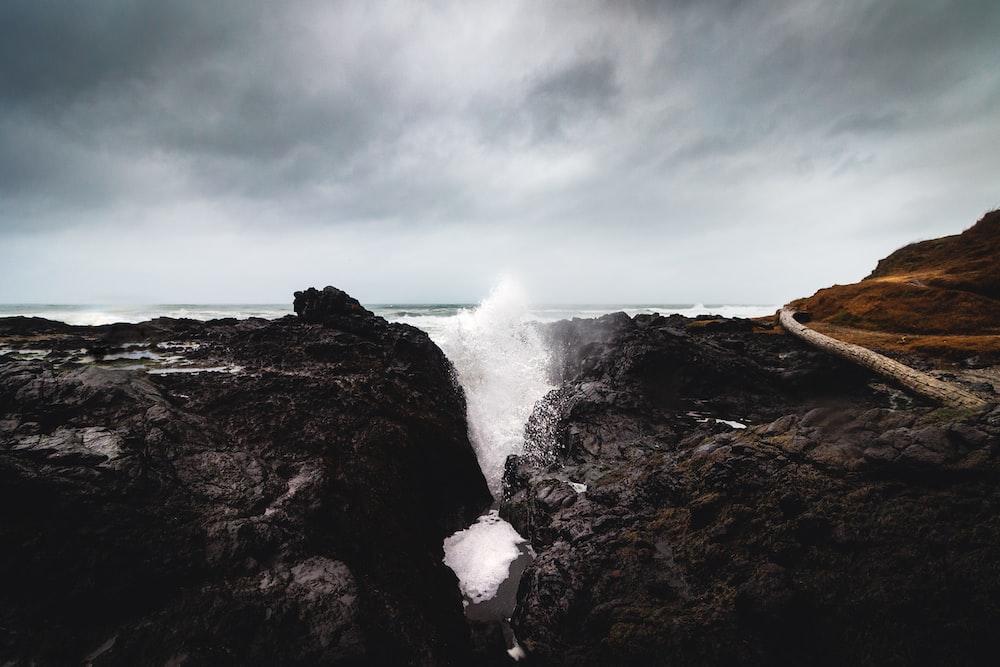 splash body of water on cliff