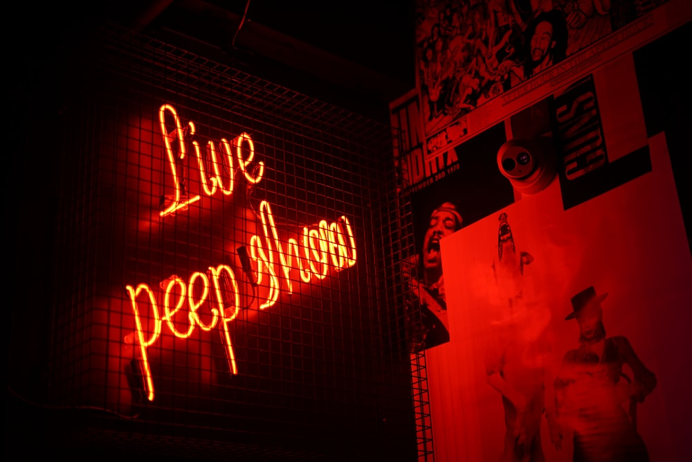 Live Peep Show neon signage