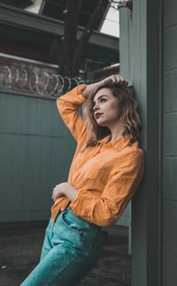 women's orange dress shirt